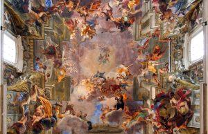Apoteose de Santo Inácio. Pintura de Andrea Pozzo no teto da igreja de Santo Inácio.